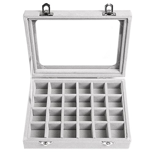 Basuwell 24 Grid Velvet Jewelry Tray for Drawers Glass Clear Lid Showcase Display Storage Ring Trays Holder Earrings Organizer Case-Grey by Basuwell (Image #2)