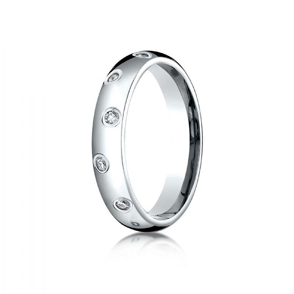 18k White Gold 4mm Comfort-Fit Burnish Set 12-Stone Diamond Eternity Ring (.24ct) - Size 10.5
