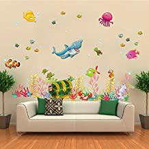 ElecMotive Under the Sea Decals Whales The Deep Blue Sea Decorative Peel Vinyl Wall Stickers Wall Decals Removable Decors for Bedrooms Kids Rooms Baby Nursery Boys and Girls Bedroom (Treasure Chest)