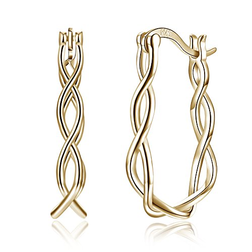 Twist Rope Filigree Small Hoop Earrings 925 Sterling Silver for Women Girls Sensitive Ears Fashion Huggie Hoops (gold)
