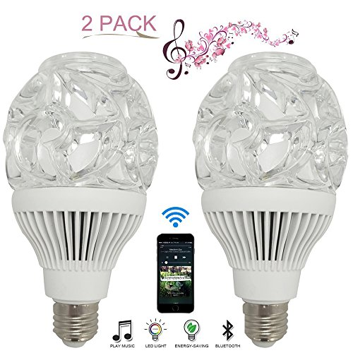 E27 LED Color Changing Night Light Bulb with Bluetooth Speaker, 10W White and RGB Dimmable Lighting Bulbs with Remote Control for Home, Party-2PK