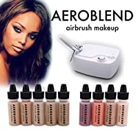 Aeroblend Airbrush Makeup Personal Starter Kit - Professional Cosmetic Airbrush Makeup System - DARK Foundation - Color Match Guarantee - Full 1-Year Warranty