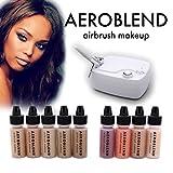 organic airbrush makeup - Aeroblend Airbrush Makeup Personal Starter Kit - Professional Cosmetic Airbrush Makeup System - DARK Foundation - Color Match Guarantee - Full 1-Year Warranty