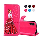 iPhone X Case,iPhone 10 Case,DAMONDY Bling Glitter Girl Back View Stand Luxury PU Leather Wallet Case Flip Cover Built-in Card Holders for Apple iPhone X / iPhone 10-hot pink