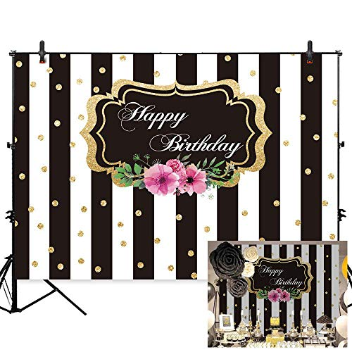 Allenjoy 7x5ft Geometric Black and White Stripes Theme Happy Fabulous Birthday Photography backdrops Golden dots Rose Flower Floral Party Decoration for Photography Photo Studio Props