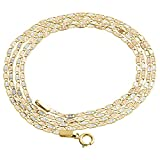 10K Tri-color Gold 1.5mm Valentino Link Chain Necklace Lobster Clasp