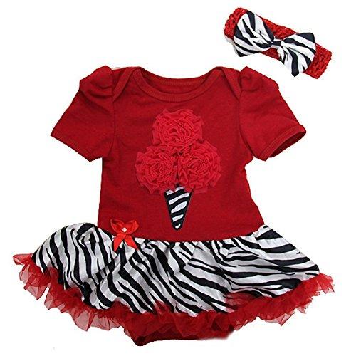 Zebra Ice Cream Bodysuit Small Red