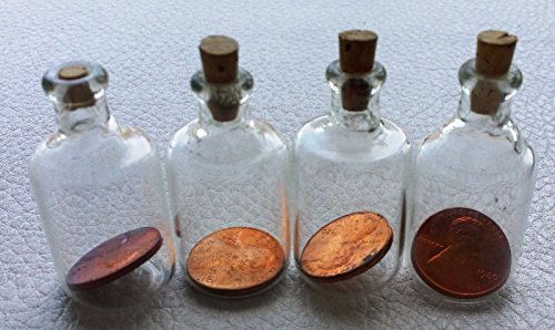 Unbranded LOT OF 4 LINCOLN CENTS IN GLASS BOTTLES WITH CORK GREAT GIFT GREAT CONDITION