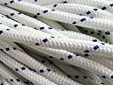 "1/2"" X 100' Double Braid/Yacht Braid Premium Polyester Halyard Rigging Line, White/Blue"