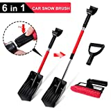 Topmart 6 in 1 Car Snow Brush Snow Shovel Sets with Winter Ice Scraper Tools Telescoping Extender for Car Outdoor Garden