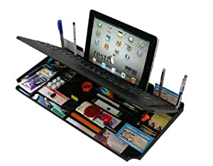 Bluetooth 6 in 1 Keyboard and Organizer with Tablet Stand Rest Color: Black