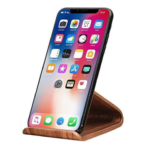 Cell Phone Stand,SAMDI iPhone Wood Dock:Cradle,Holder For Switch all Android Smartphone,iPhone 6 6s 7 8 X Plus 5 5s 5c Accessories Desk-Black Walnut