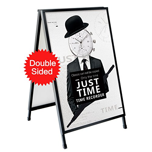 T-Sign Heavy Duty Slide-in Folding A-Frame Sidewalk Sign 24'' x 36'' Black Coated Steel Metal Double-Sided with Two Corrugated Plastic Poster Boards for Outdoor Advertisement - Folding Frame Metal