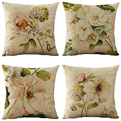 WOMHOPE Set of 4 Vintage Spring Flower Decorative Throw Pillow Covers Pillow Cases Cushion Cases Burlap Toss Throw Pillow Covers 18 x 18 Inch for Living Room,Couch and Bed (Beige -