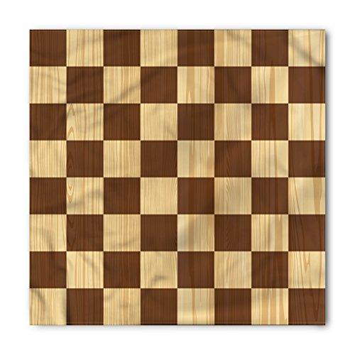 Ambesonne Unisex Bandana, Checkered Checkerboard Wooden, Pale Brown -