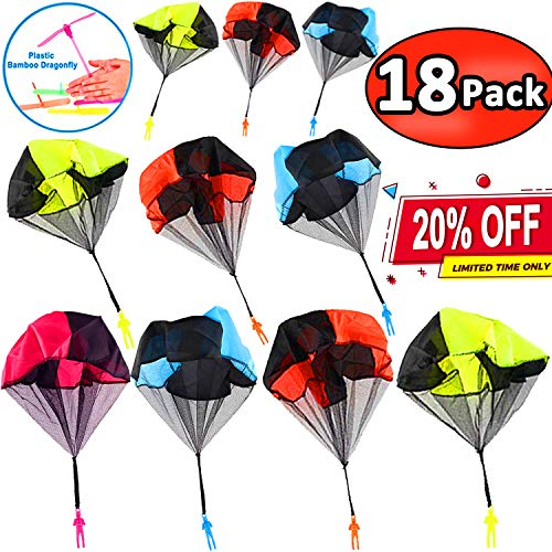 (18 Pack Parachute Toys - Party Favors for Kids Flying Toys Parachute Army Men Parachute Tangle Free Throwing Parachute with Launcher Soldier Skydiver Hand Throw Sports & Outdoor July Deals)