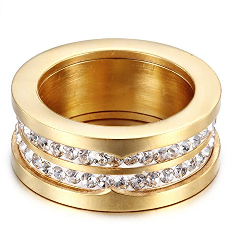 LuckyWeng New Exquisite Fashion Jewelry Gold Double Row Diamond 316L Stainless Steel Ring ()