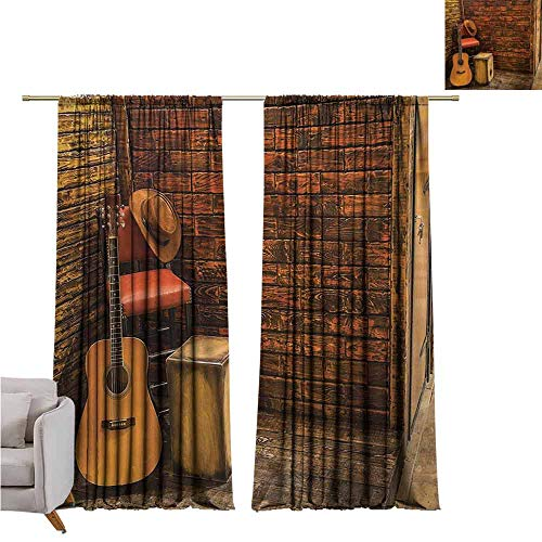 GUUVOR Music Blackout Curtain Music Instruments on Wooden Stage in Pub Beverage Cafe Counter Bar 2 Panel Sets W52 x L63 Inch Dark Orange Amber Sand Brown (Outdoor Cafe Melbourne Furniture)