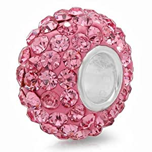 925 Sterling Silver Pink Crystal Bead Charm