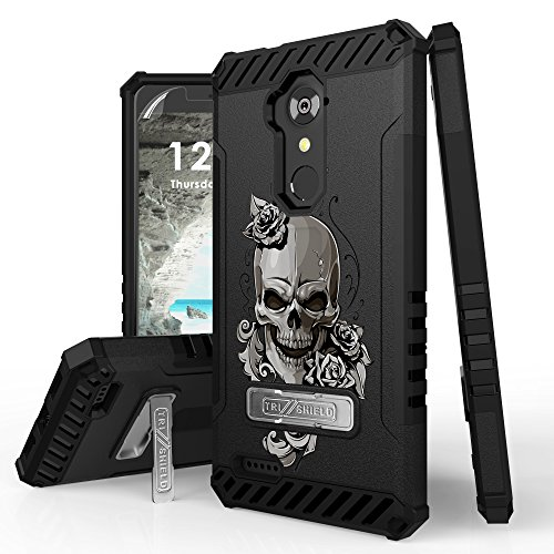 Trishield Series Rugged Armor Cover for ZTE Blade X Max, Max XL, Blade Max 3, Zmax Pro, Grand X Max 2, Imperial Max, Max Duo Case + Kickstand Laughing Skull