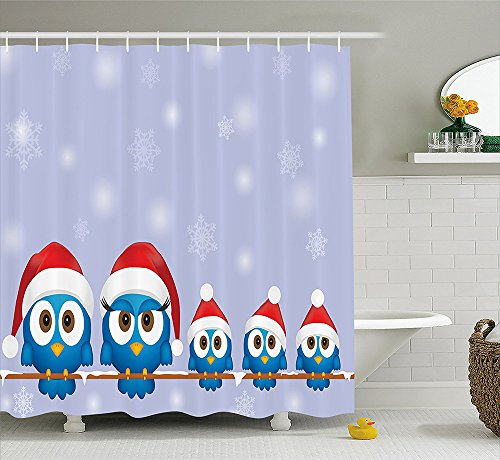 Christmas Decorations Collection Funny Bird Family with Santa Hats on Electricity Wire Winter Holiday Season Humor Polyester Fabric Bathroom Shower Curtain Set with Hooks Blue Red