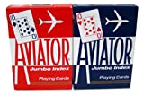12 Decks Aviator Cards Red/Blue - Poker Size, Regular Index by Brybelly