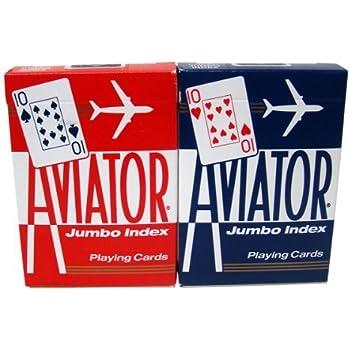 12 Decks Aviator Cards Red/Blue - Poker Size, Regular Index by Brybelly