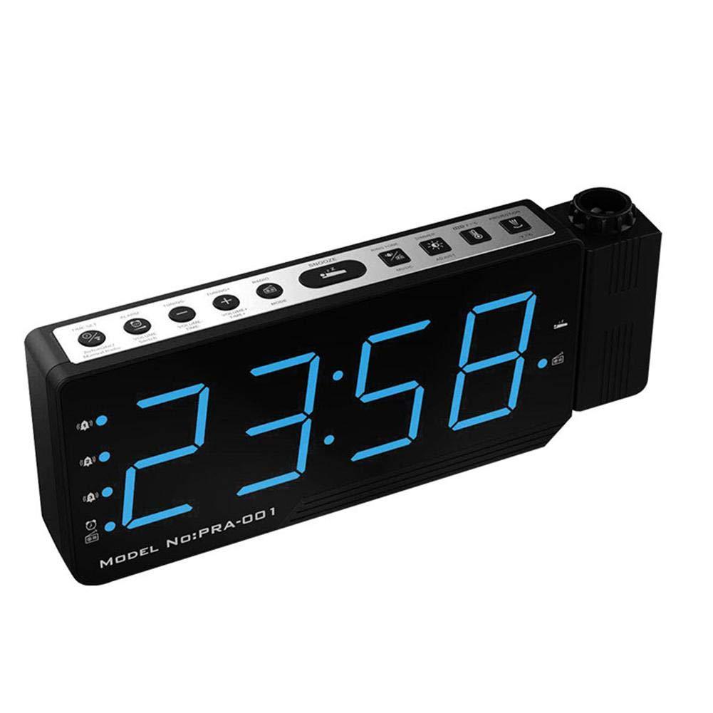 funzione snooze 210 x 83 x 30 mm Radiosveglia digitale con proiezione del tempo visualizzazione del tempo e della temperatura cavo USB collegamento USB display a LED timer beautygoods dimmer