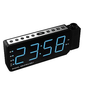 beautygoods LED Dimmable Proyector Reloj Despertador con FM, Puerto de Carga USB, 3 alarmas