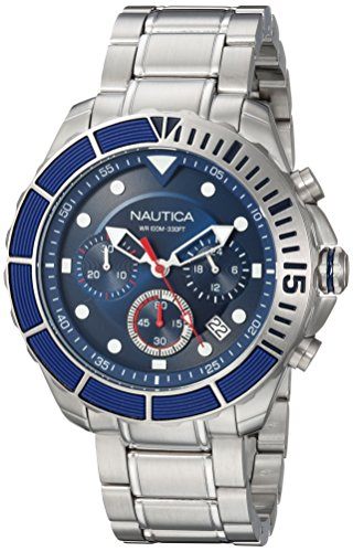 Nautica Men's 'PUERTO RICO' Quartz Stainless Steel Sport Watch, Color:Blue (Model: NAPPTR004)