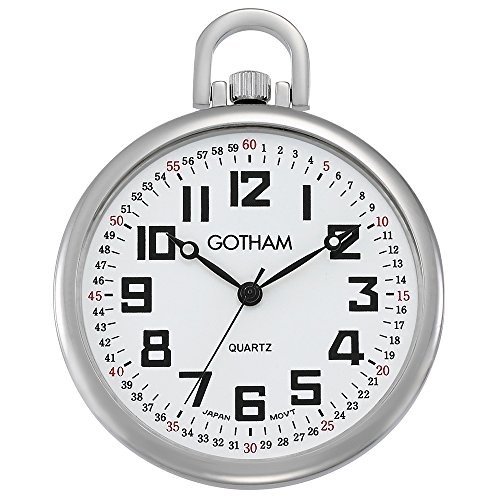 Gotham Men's Silver-Tone Ultra Thin Railroad Open Face Quartz Pocket Watch # GWC15022S -