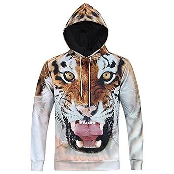 HHWY Moda Otoño Invierno León Impresión Digital/Tiger Hombres/Mujeres Sudaderas con Capucha Chaqueta Cortavientos Pac 3D Sudaderas Marca: Amazon.es: ...
