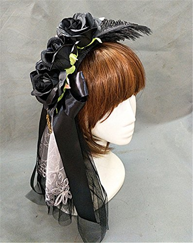 (Sweet Lolita Pink Rose Blossoms Wedding Bowknot KC Headband Feather Gothic Veil Headdress Hair Accessory (Black))