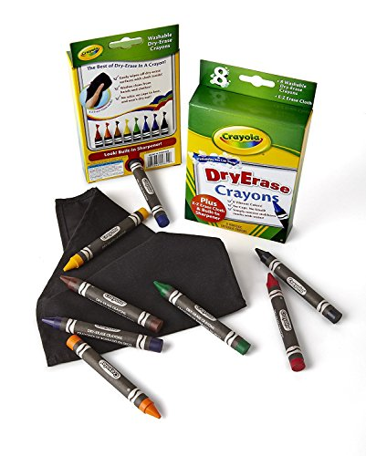 crayola dry erase crayons art tools 8 count washable perfect for classroom art activities includes sharpener and erase cloth
