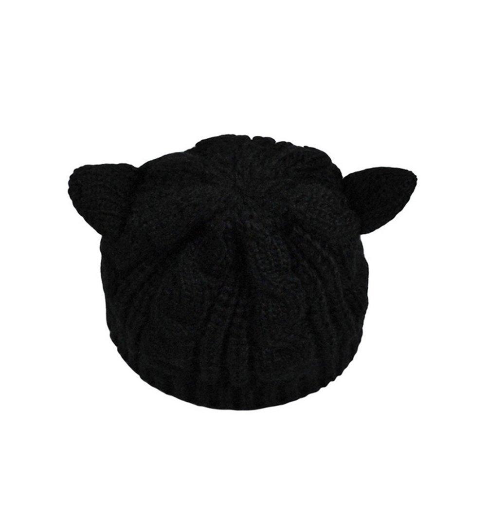 Cdet Sombrero de moda de invierno caliente sombrero de punto sólido gorrita tejida sombrero caliente gorras,Negro