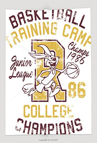 Custom Throw Blanket Rabbit Basketball Training Camp Print For Boy Sportswear In Custom Colors Grunge Effect In 223157623 and Comfortable