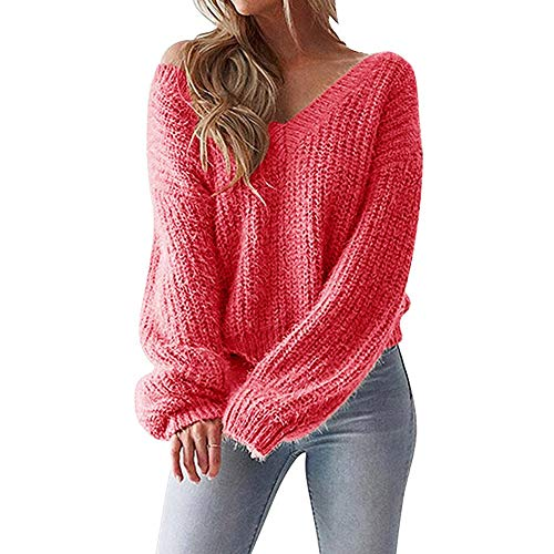 Price comparison product image Clearance Sale! Pervobs Women Casual Sweater V-Neck Leak Back Loose Long Sleeve Knitted Sweater Pullover Top Blouse(8,  Red)