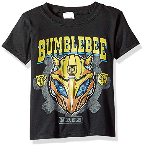 Transformers Little Bumblebee Movie Big Face Logo Boys Tee, Black 5/6