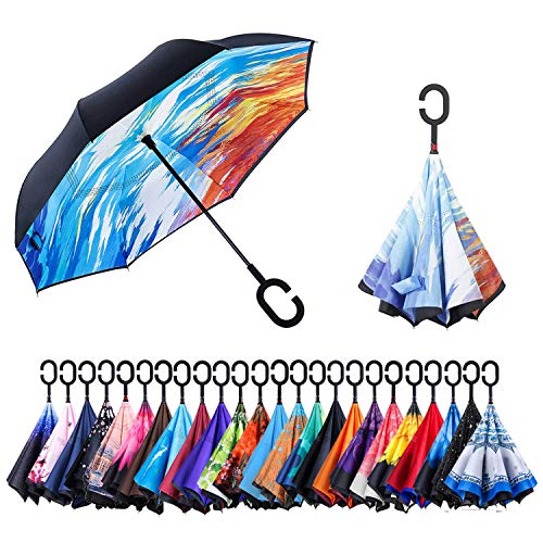 Newsight Reverse/Inverted Double-Layer Waterproof Straight Umbrellas, Self-Standing & C-Shape Handle & Carrying Bag for Free Hands, Inside-Out Folding for Car Users (Fantasy) ()