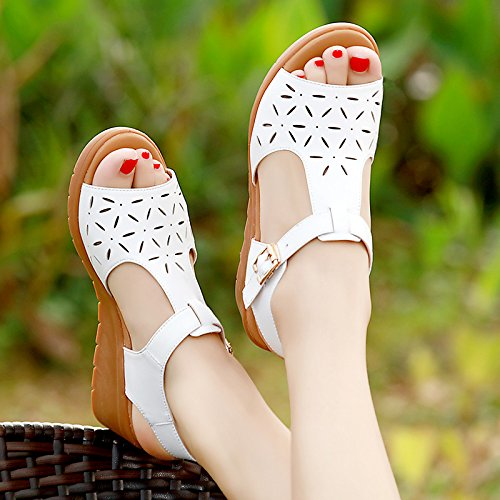 YMFIE de Zapatos Cuero Parte Suave de Antideslizantes de cuña Las Verano Playa del white Inferior Sandalias del la de 448wdarq