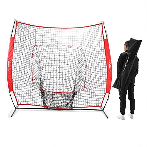 Pinty Baseball and Softball Practice Net 7'×7' Portable Hitting Batting Training Net with Carry Bag & Metal Frame by Pinty