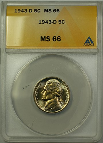 1943 D Jefferson Wartime Silver 5c Coin (RL-G) Light Toning Nickel MS-66 ANACS