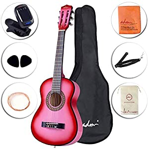 ADM Beginner Classical Guitar 30 Inch Nylon Strings Wooden Guitar Bundle Kit with Carrying Bag & Accessories, Pink 51KeEiyR4bL