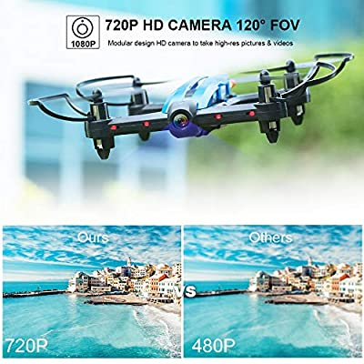 Mini Drone Racing Drone Quadcopter 720P Wide Angle HD Camera Live Video Headless Mode One Key Return 3D Flips 2.4GHz 6 Axis Gyro Remote Control Helicopter RC Drone Boys Adults Toys