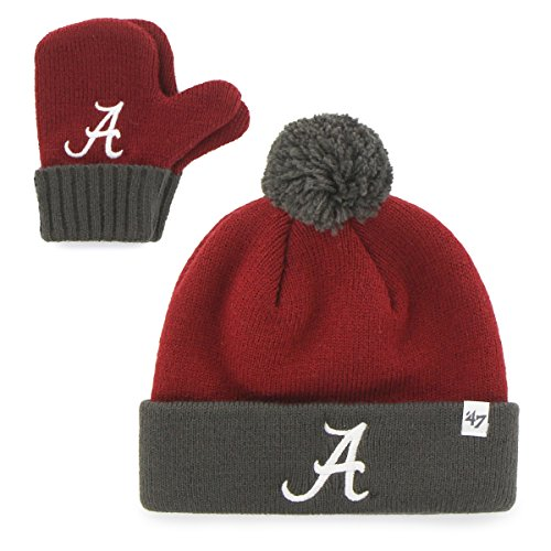 '47 NCAA Alabama Crimson Tide Infant Bam Bam Knit Hat and Mittens Set, Razor Red (Alabama Beanie Hat)