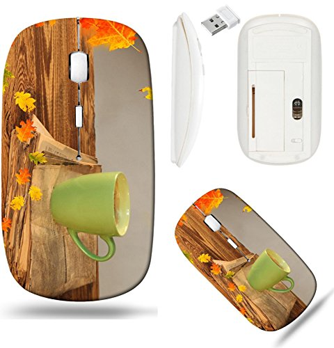 Liili Wireless Mouse White Base Travel 2.4G Wireless Mice with USB Receiver, Click with 1000 DPI for notebook, pc, laptop, computer, mac book Cup of tea with autumn leaves reflection on newspaper wood