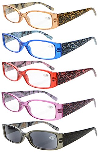 Eyekepper 5-Pack Spring Hinges Tiger Patterned Temples Reading Glasses Sun Readers - For Frames Faces Narrow Glasses