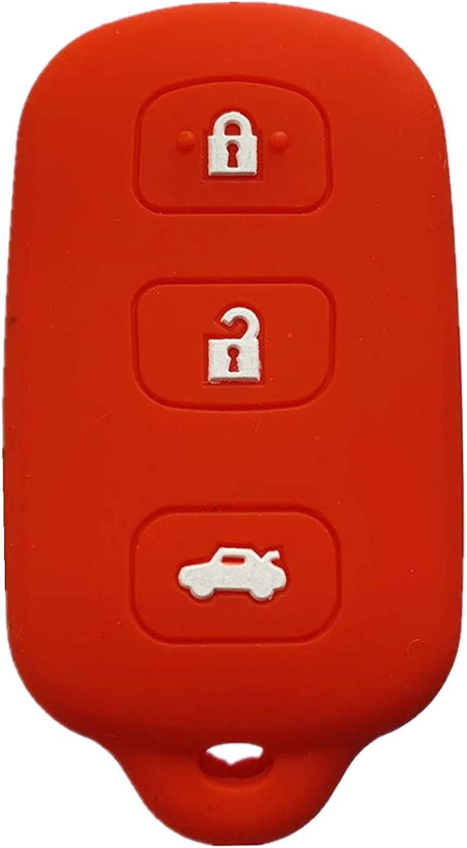 Rpkey Silicone Keyless Entry Remote Control Key Fob Cover Case protector Replacement Fit For Toyota Avalon Lexus ES300 LS400 SC300 SC400 89742-AC050 89742-AC020 89742-33100 HYQ12BAN Rose red