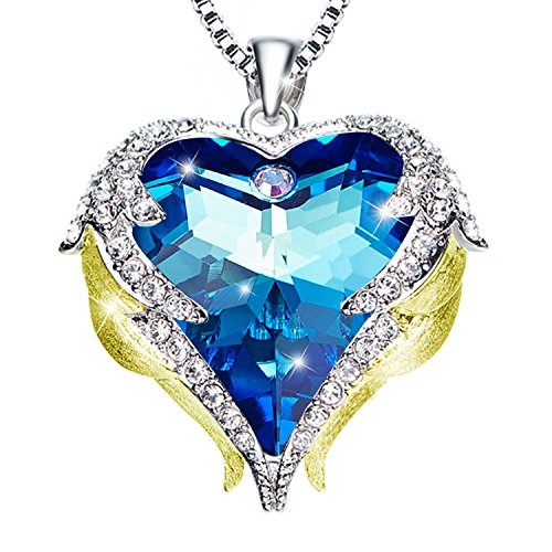 Blue Love Heart Angel Wing Necklace - Two Tone Guardian Angel Wings February Birthstone Crystal Pendant Necklace Jewelry for Women