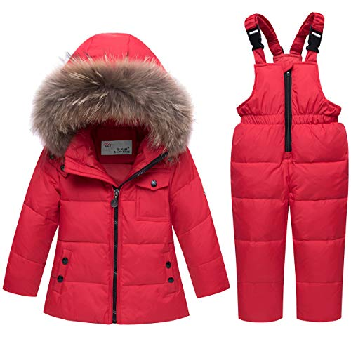 JELEUON Baby Girls and Boys Winter Warm Hooded Fur Trim Zipper Snowsuit Puffer Down Jacket with Snow Ski Bib Pants 3-4 Years